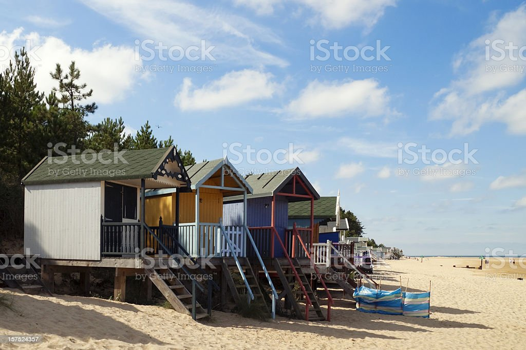 Holiday huts on Wells beach royalty-free stock photo