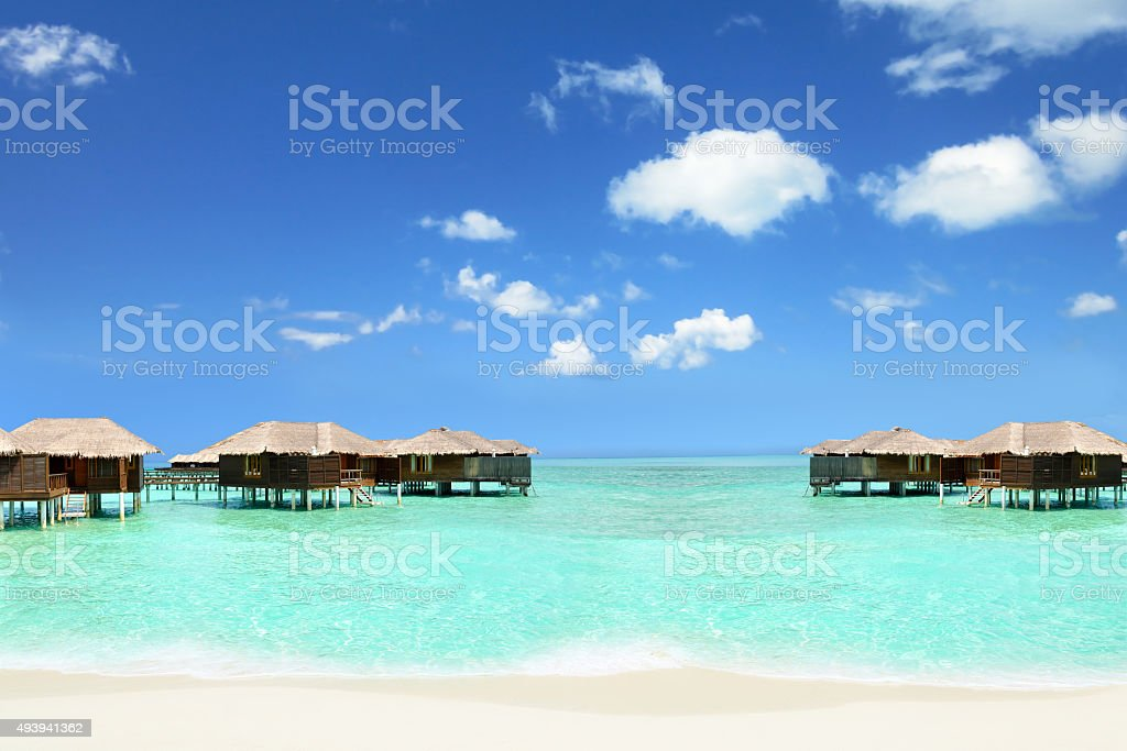 holiday in the Maldives in cottages on the water, sky stock photo