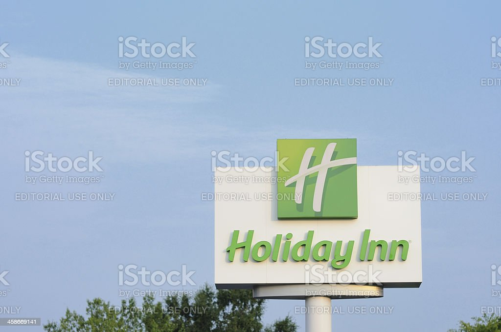 Holiday Inn sign with copy space stock photo
