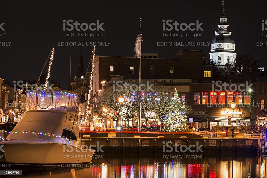 Holiday Lights at Annapolis City Dock royalty-free stock photo