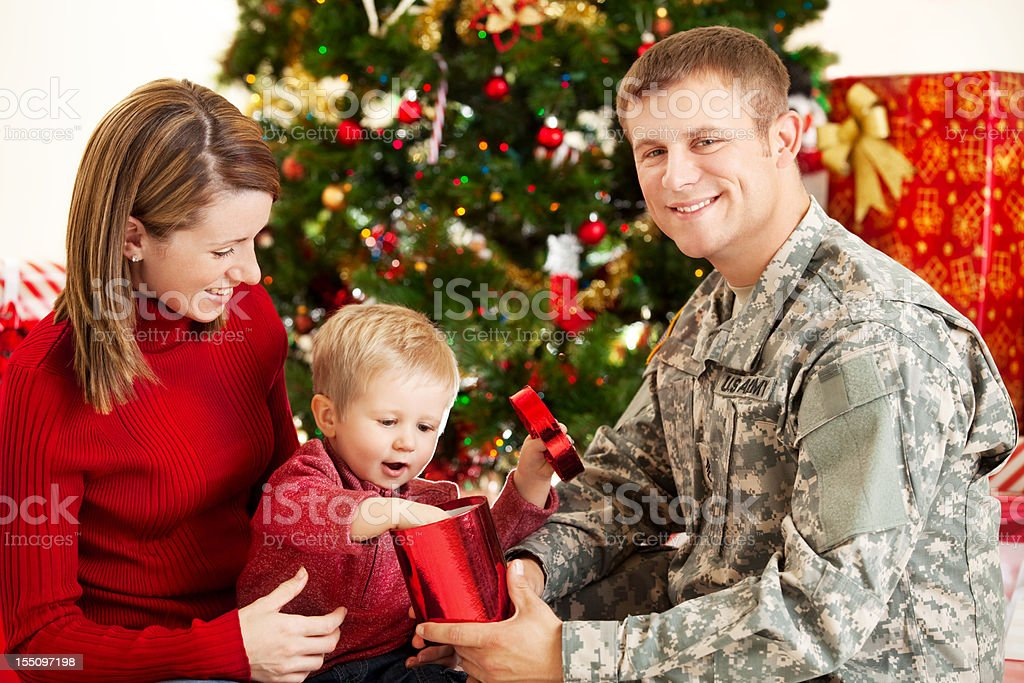 Holiday Military Family Portrait royalty-free stock photo