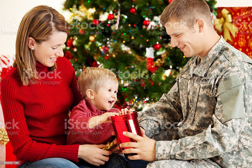 Holiday Military Family Portrait royalty-free stock photo