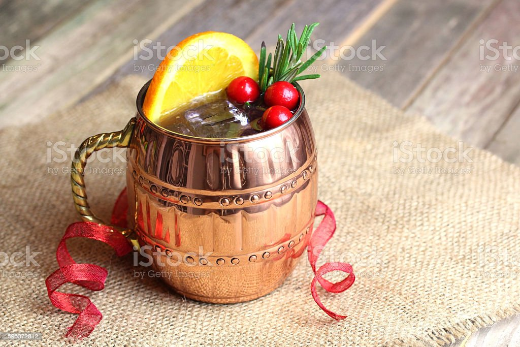 Holiday Mule Cocktail stock photo