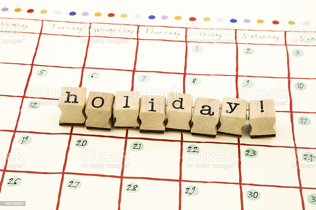 Holiday note date stack on calendar stock photo