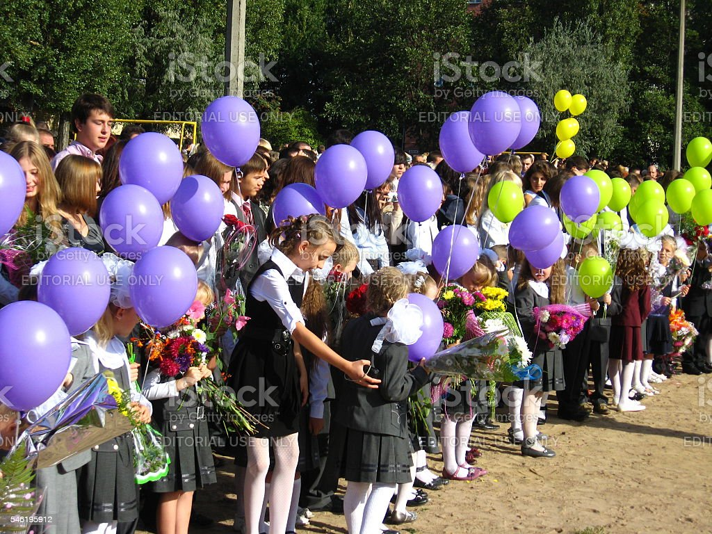 holiday of the 1st september in school of Chernihiv stock photo