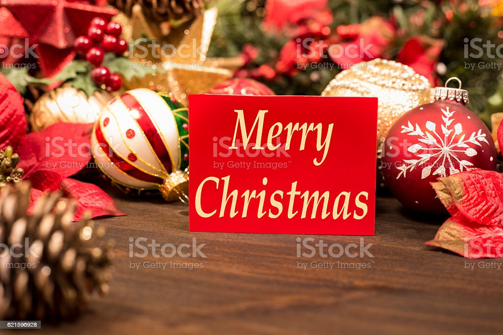 Holiday ornaments, decorations with Merry Christmas greeting card. stock photo
