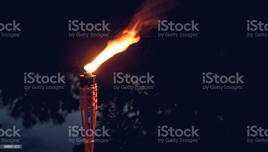 Holiday outdoor. Burning torch stock photo
