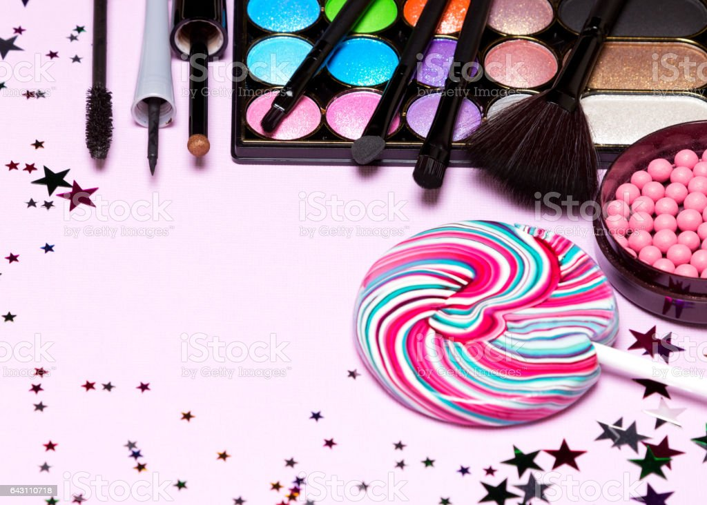 Holiday party make up cosmetics stock photo