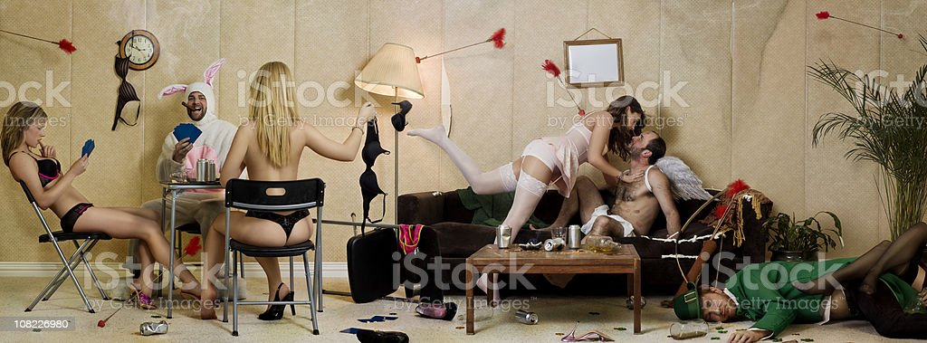 Holiday Party with Leprechaun, Easter Bunny and Cupid stock photo
