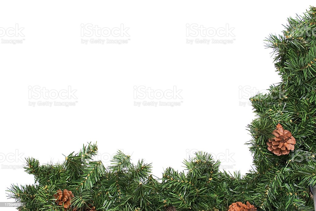 Holiday Pine Wreath Border royalty-free stock photo