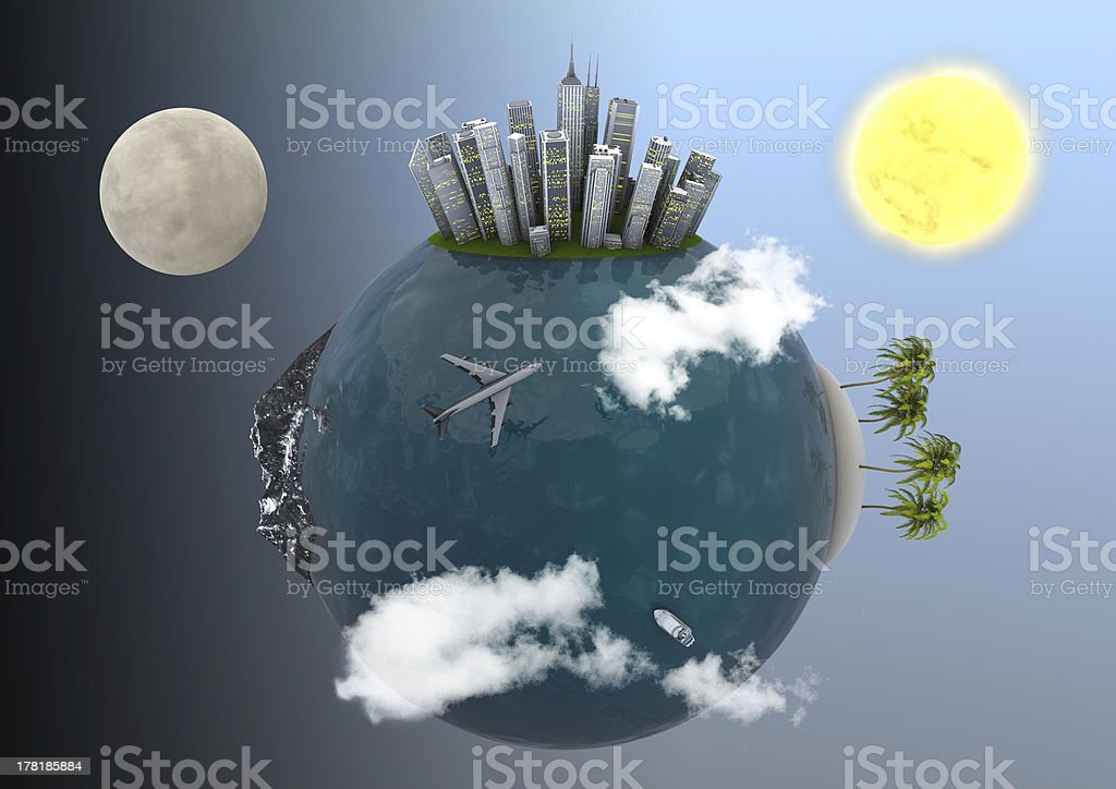 Holiday Planet with tropical island , a big city and mountains royalty-free stock photo