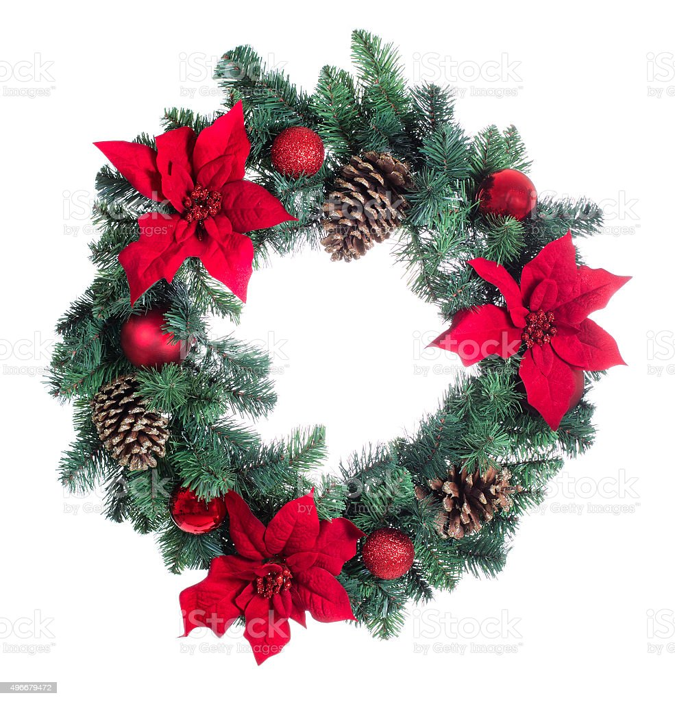 Holiday Poinsettia Christmas wreath isolated on white background stock photo
