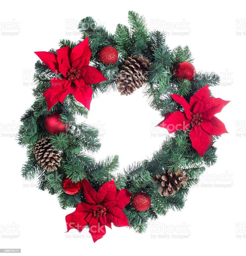 Holiday Poinsettia Christmas wreath isolated on white background stock photo