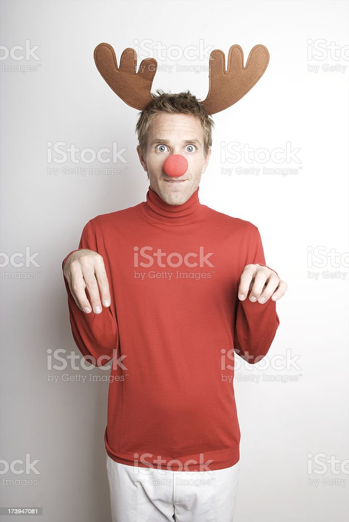 Holiday Red Nosed Reindeer Man Stands Ready royalty-free stock photo