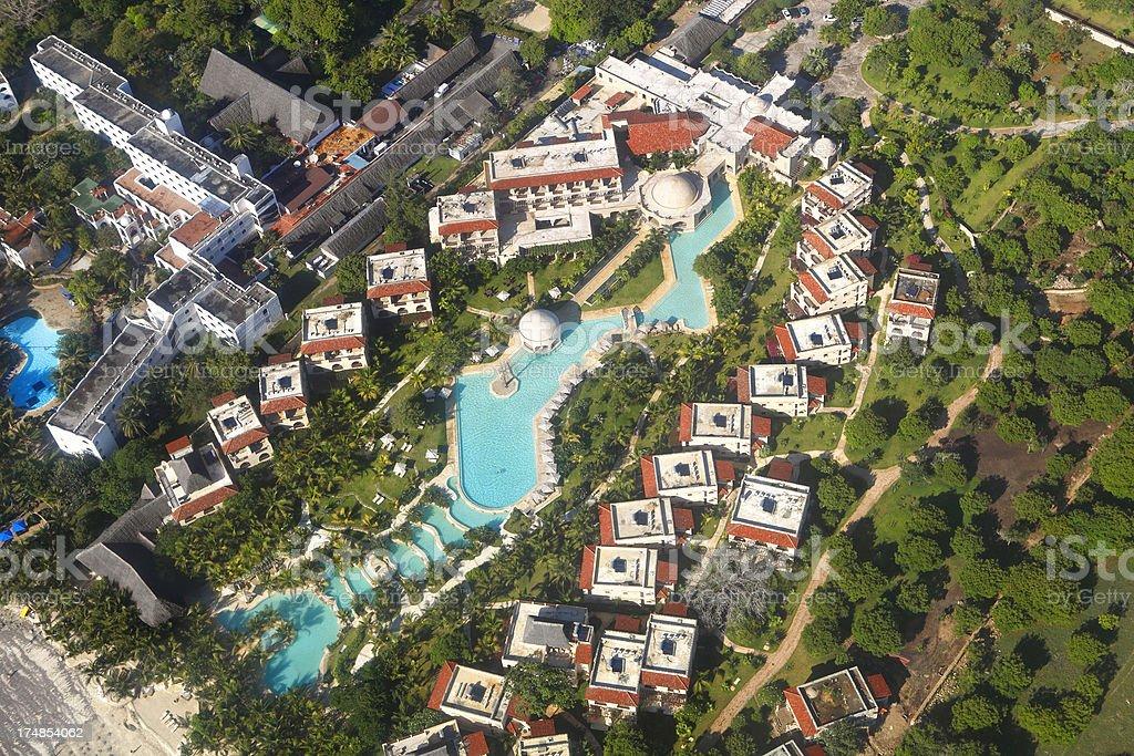 Holiday resort at Diani Beach in Kenya royalty-free stock photo