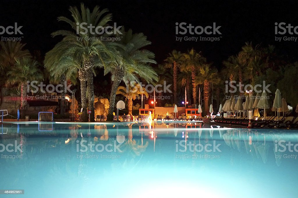 Holiday resort at night time stock photo