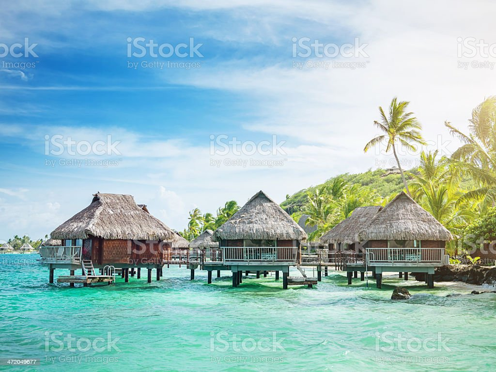 Holiday Resort in Ocean French Polynesia stock photo