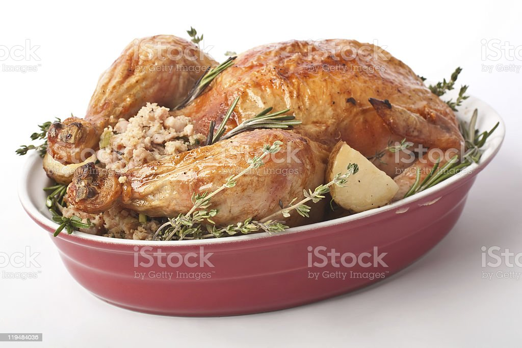 holiday roasted stuffed turkey stock photo