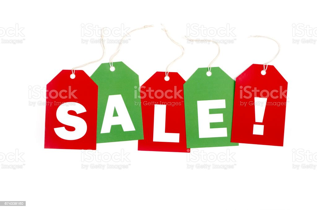 Holiday SALE tags stock photo