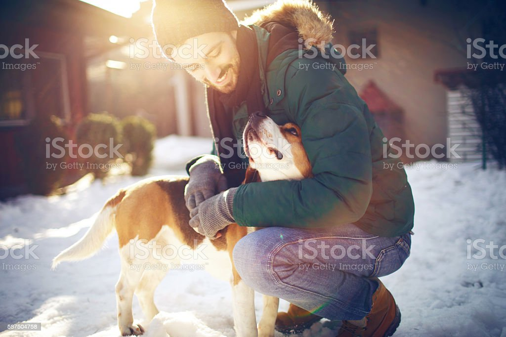 Holiday season with my best friend stock photo