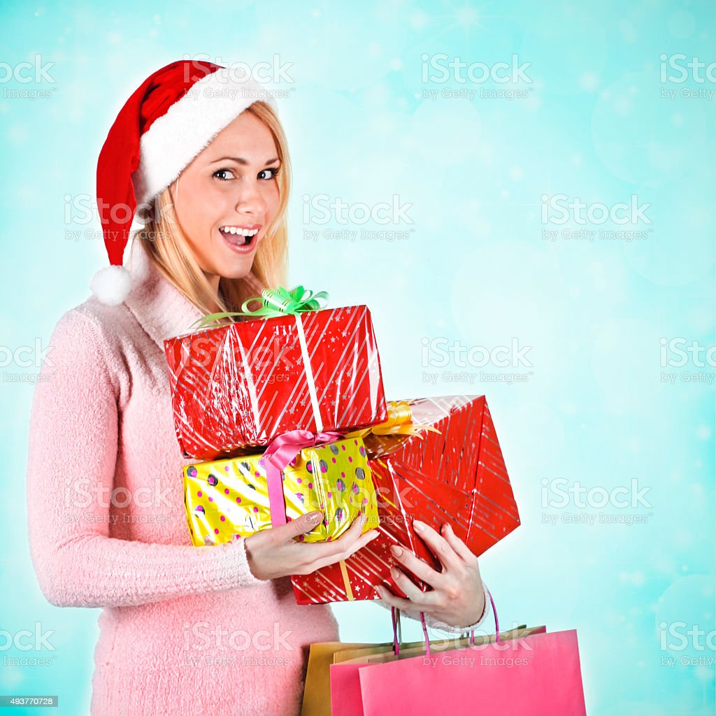Holiday shopaholic stock photo