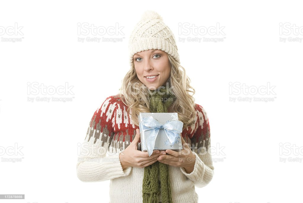 Holiday Shopper with Blue Gift royalty-free stock photo