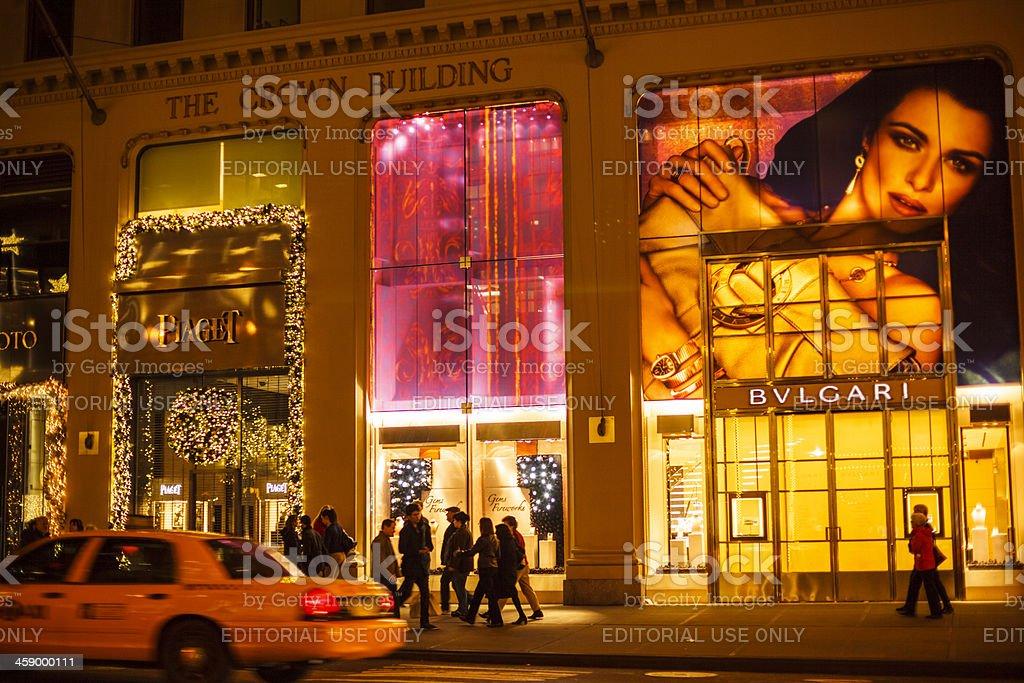 Holiday Shopping Fifth Avenue Manhattan Bulgari and Piaget stock photo