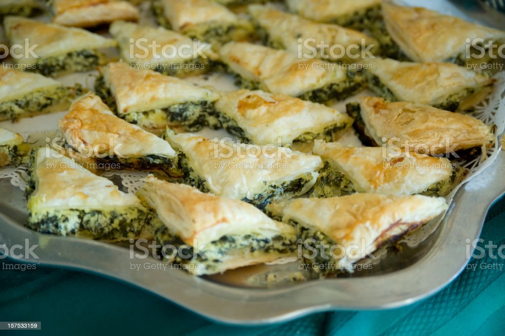 Holiday Spinach Pastry, Greek Spanakopita stock photo