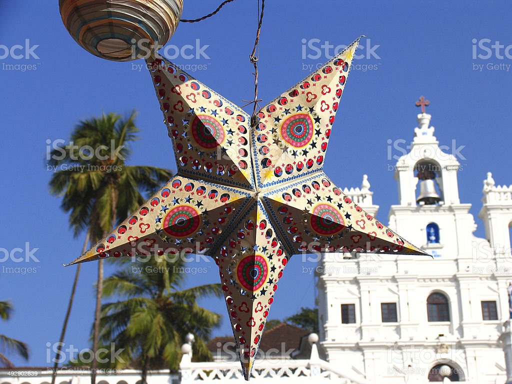 Holiday Star on background of a Church, Panaji, GOA stock photo