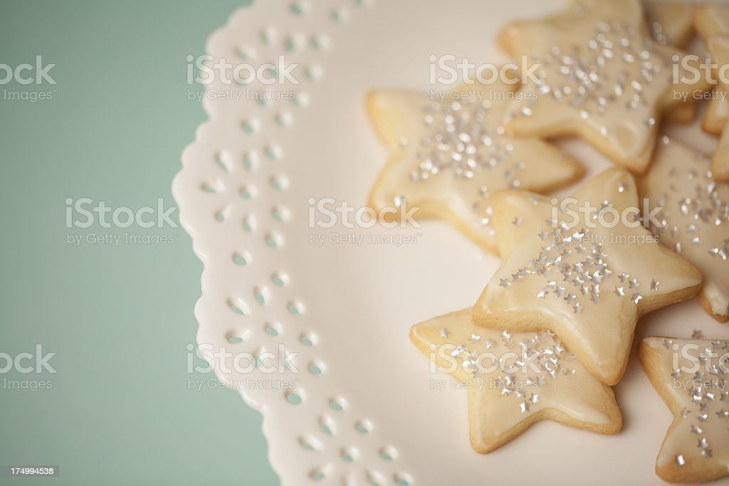 Holiday Star Sugar Cookies on a Pretty White Cake Plate stock photo