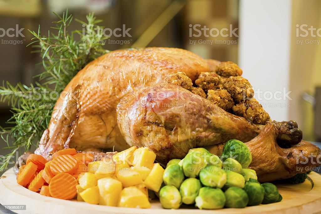 Holiday stuffed turkey stock photo