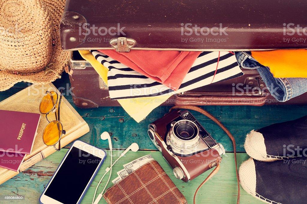 Holiday suitcase stock photo