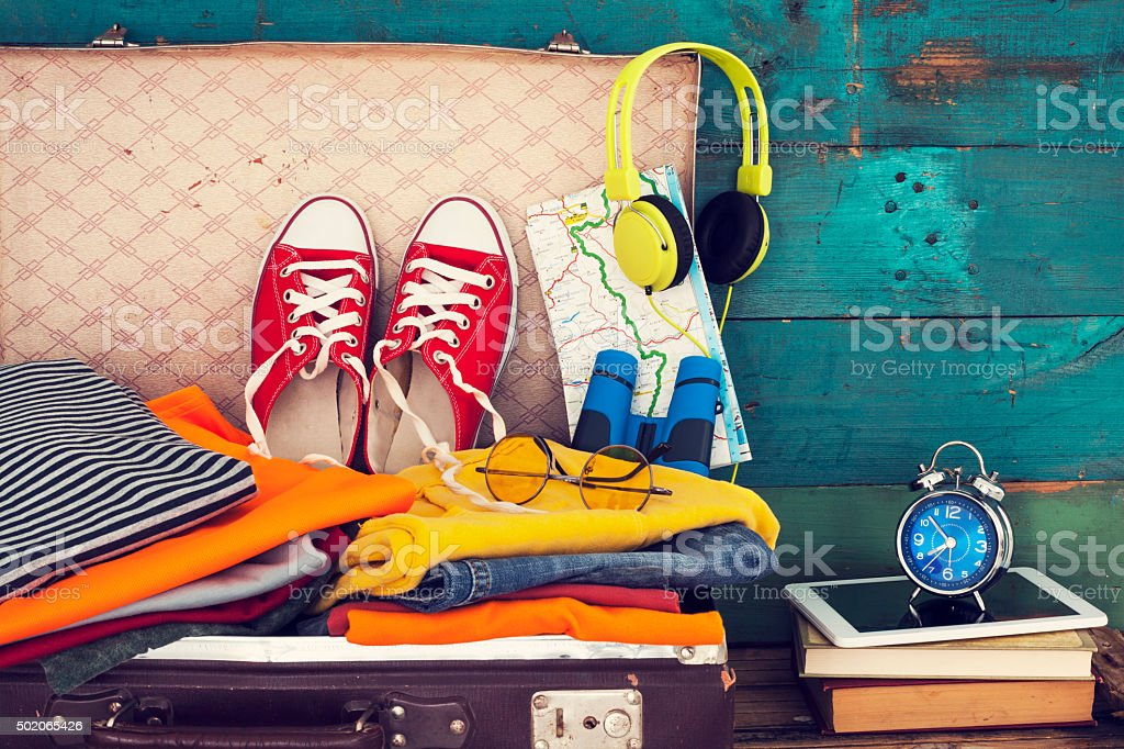 Holiday suitcase stock photo