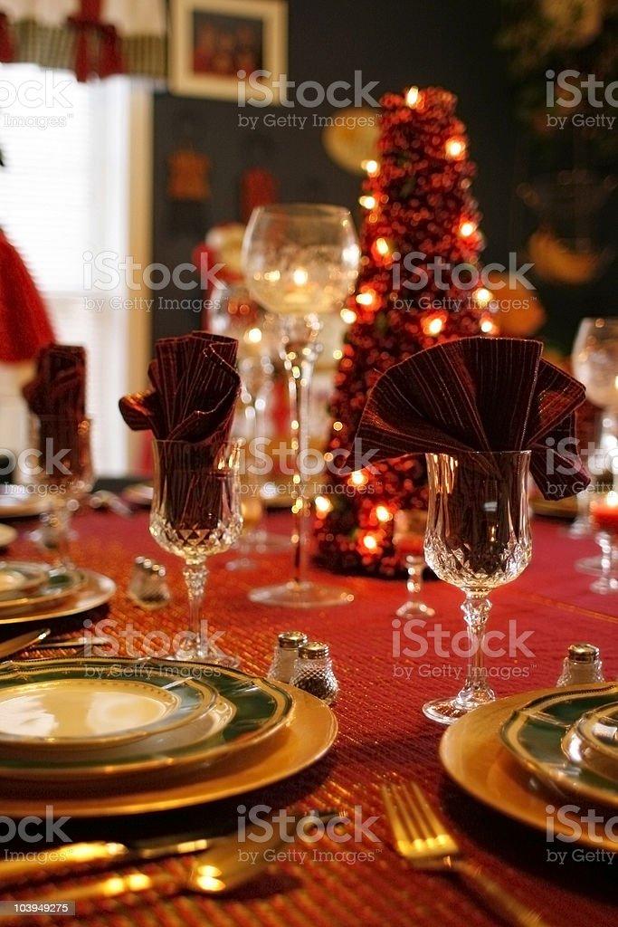 Holiday Table Setting: Decorative Christmas Tree Centerpiece royalty-free stock photo