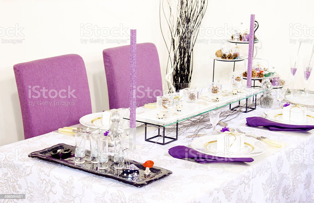 Holiday table setting stock photo