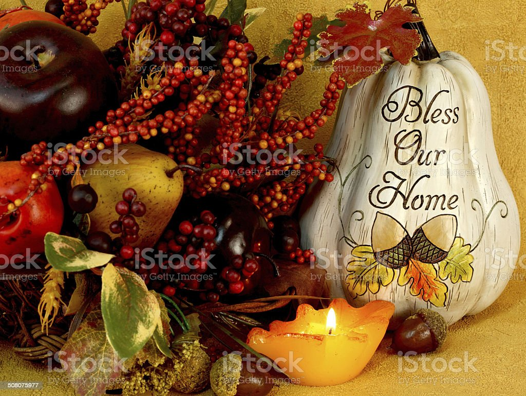 Autumn still life with leaf candle and Bless Our Home Pumpkin.See...