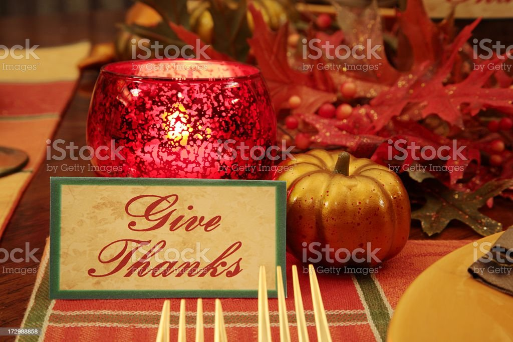 Thanksgiving Place setting With gold forks, \'give thanks\' note card,...