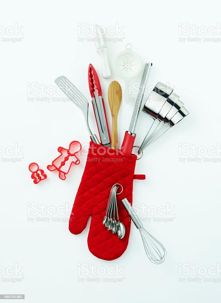 Holiday themed oven mitt stocking stock photo