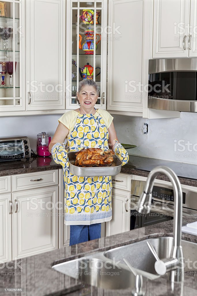 Holiday Turkey in a kitchen interior royalty-free stock photo