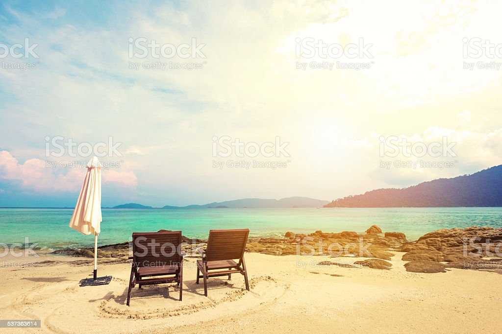 Holiday vacation, beach chairs on the beach, vacation time on the...