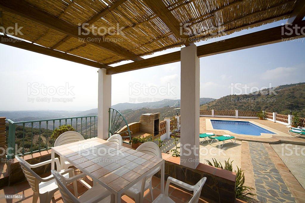 Holiday vacation villa swimming pool, Costa del Sol, Spain royalty-free stock photo