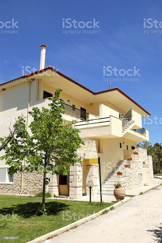 Holiday villa a the luxury hotel, Halkidiki, Greece royalty-free stock photo