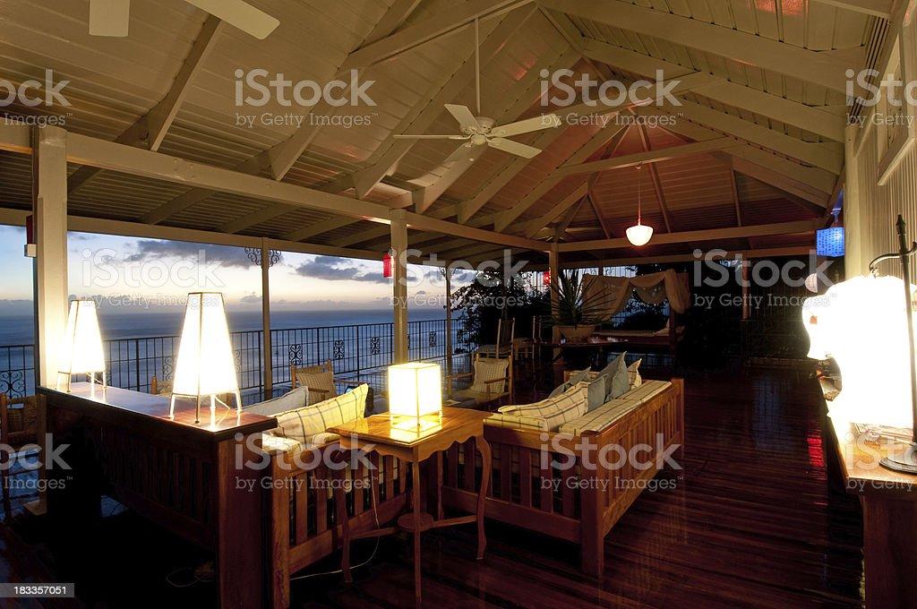 Holiday villa at dusk royalty-free stock photo