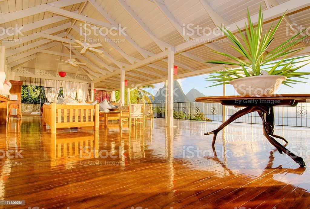 Holiday villa on St. Lucia stock photo