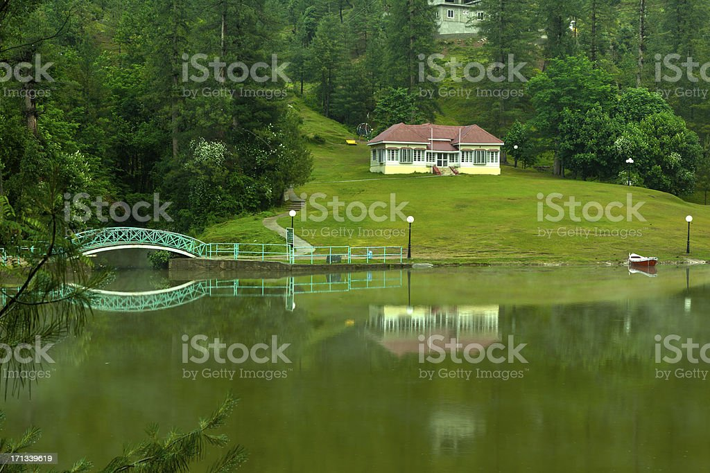 Holiday Villa overlooking Lake Azad Kashmir (Pakistan) HDR stock photo