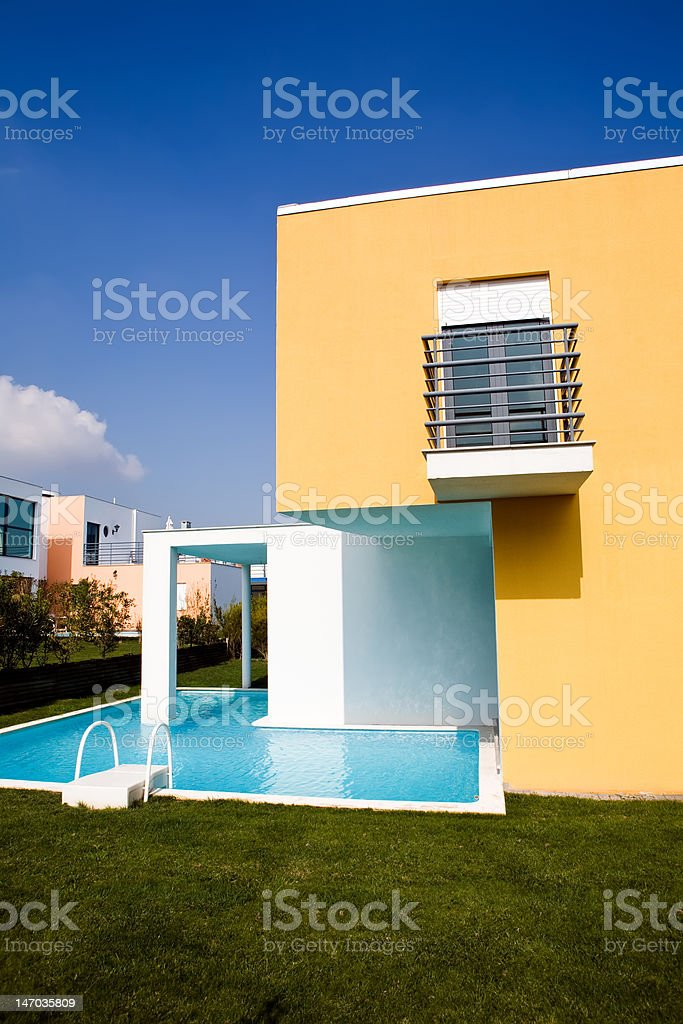 Holiday villa with swimming pool royalty-free stock photo