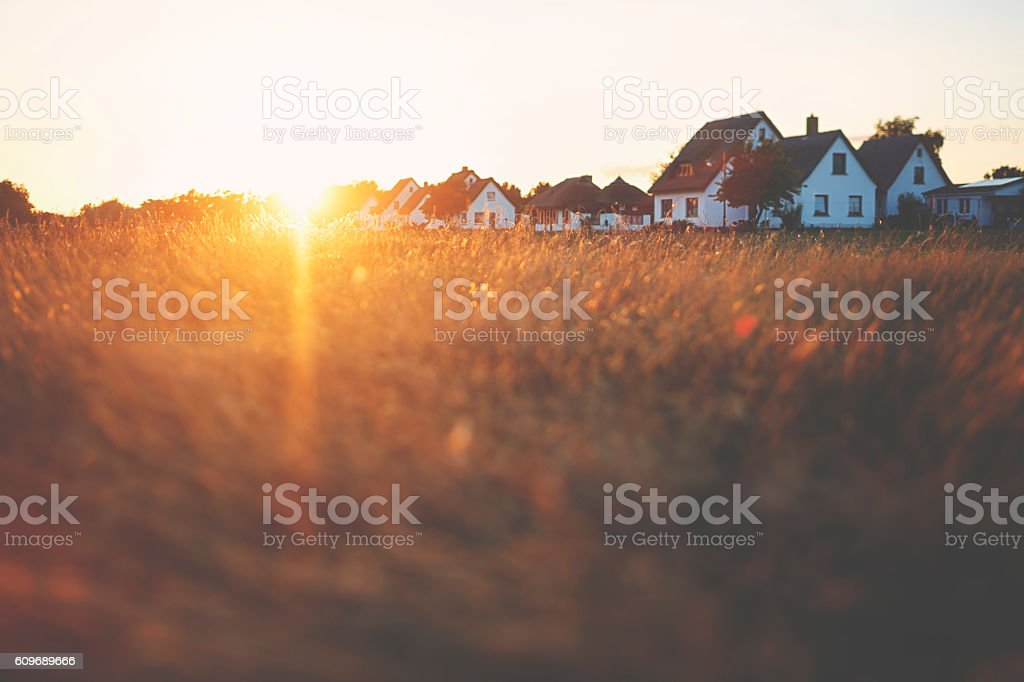 Holiday village at the Baltic Sea in sunset stock photo