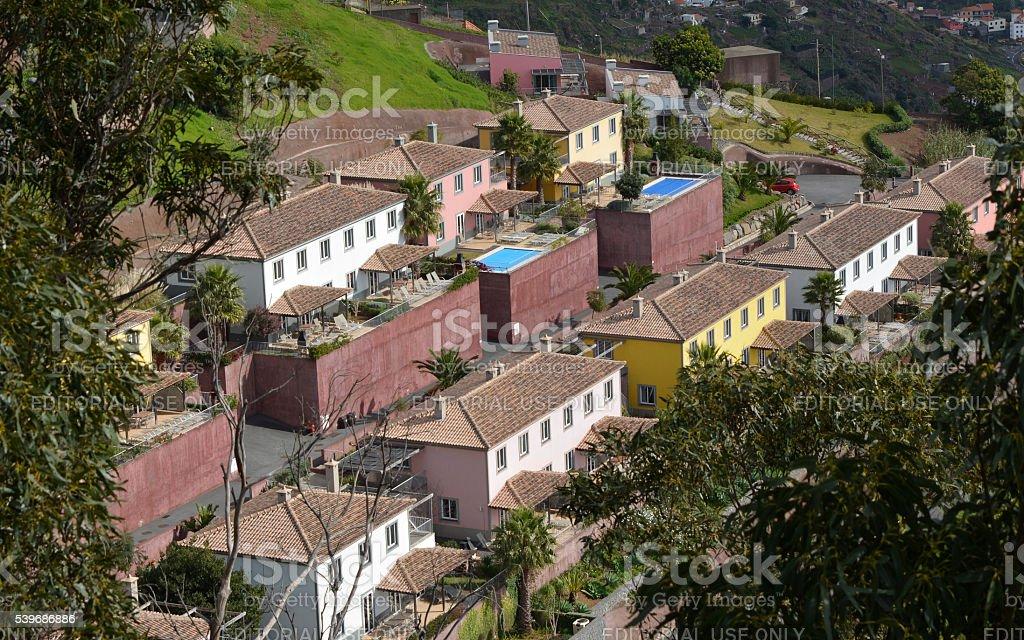 Holiday villas at Cabo Girao in Madeira, Portugal stock photo