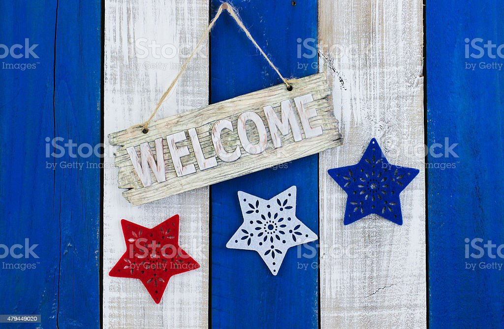 Holiday welcome sign stock photo