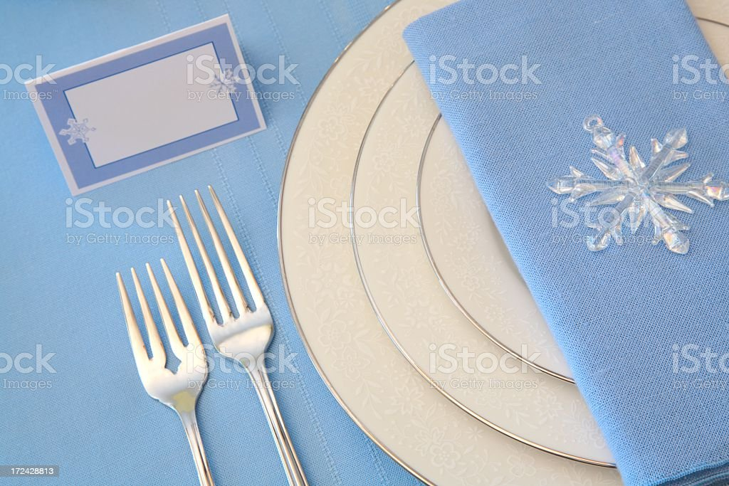 Holiday: Winter Table Setting Series in white and blue royalty-free stock photo